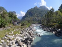 Background Machhapuchhare Mountain over Modi River